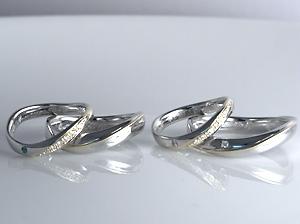 プラチナとK18のコンビダイヤモンド