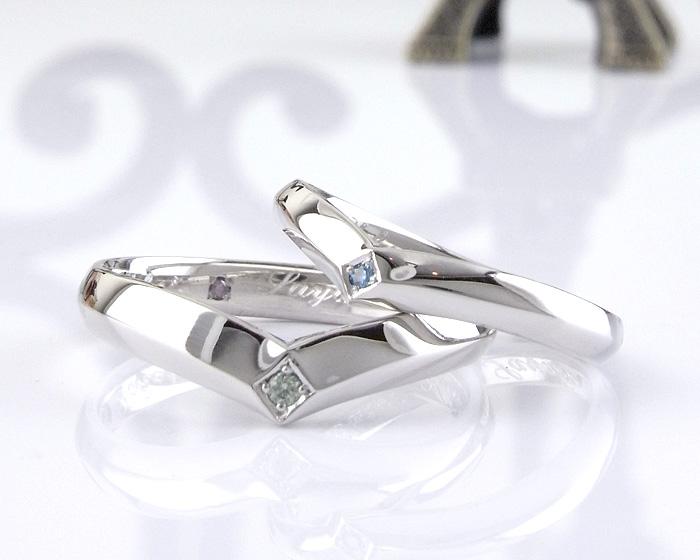 当店オリジナルのV字デザインのオリジナル結婚指輪にダイヤをアレンジしました