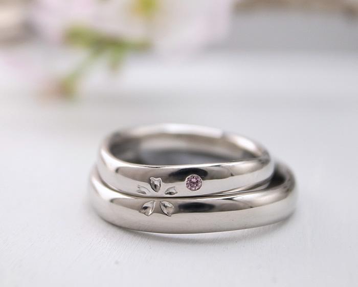 当店のあわせて桜になるオリジナル結婚指輪の紹介です 実際にお作りした指輪を紹介しております