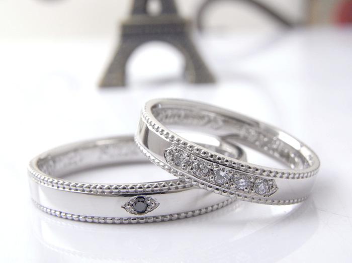 彫留でダイヤモンドとブラックダイヤモンドを丁寧に彫留で石留しております
