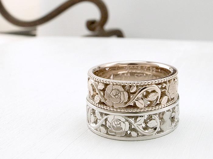 可愛らしいデザインの薔薇の透かしを作った結婚指輪の紹介します 地元のカップルからのご注文で、猫と蝶もデザインの中に取り入れております