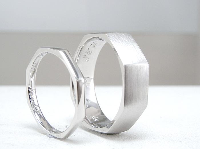 縁起がいいと8角形で作られた指輪です、仕上げは、ヘアラインと鏡面のピカピカに仕上げた指輪です 又、ボリュームもある確りとした仕上がりになっております