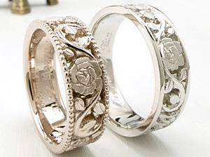 薔薇をツヤ消しの結婚指輪