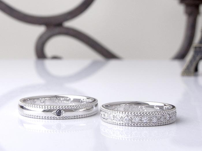 アンティーク感を出したミル打ちと彫留の手作業による丁寧な指輪です オーダーメイドで作っています