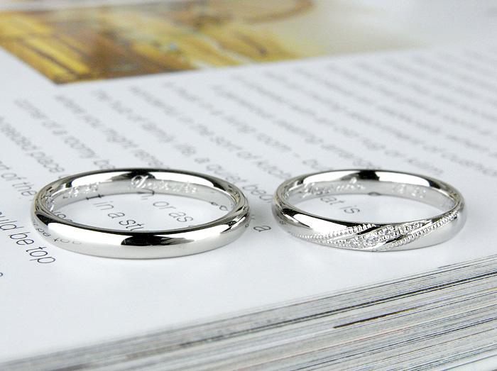 甲丸でも丸みのある質感を希望して作った結婚指輪です