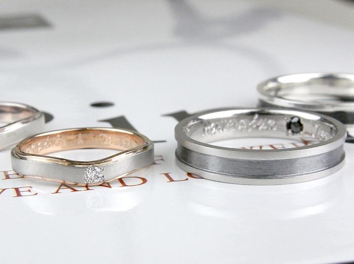 男性用はプラチナ900で女性用はプラチナにピンクゴールドで作りました指輪の紹介です インターネットを見た東京都のお客様がネット相談を通してお作りした指輪です。