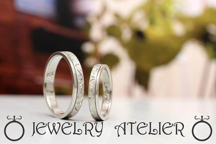 オーダーメイドだから出来るオリジナルティーのある指輪です つや消しは魅力的で彫り模様が可愛いリングです。