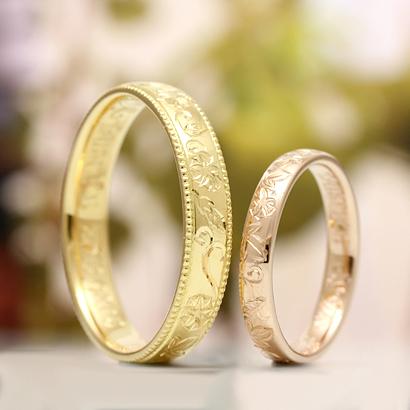 丁寧に彫って作った指輪で 模様は朝顔をモチーフに職人が手彫りしています